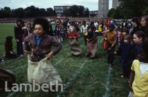 CHILDREN'S SACK RACE, BROCKWELL PARK, HERNE HILL