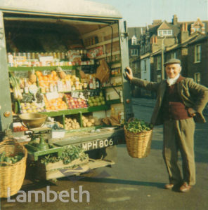 SAM STEENE & HIS GREENGROCERS' VAN, SUSSEX ROAD, BRIXTON