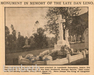 DAN LENO GRAVE, LAMBETH CEMETERY