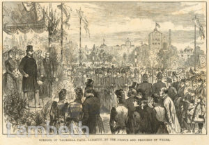 VAUXHALL PARK OPENING, SOUTH LAMBETH ROAD, VAUXHALL