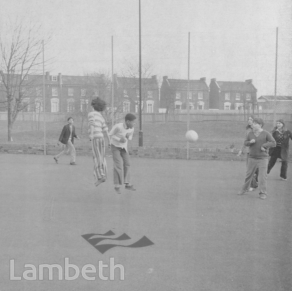 CHILDREN PLAYING FOOTBALL, BRIXTON NORTH