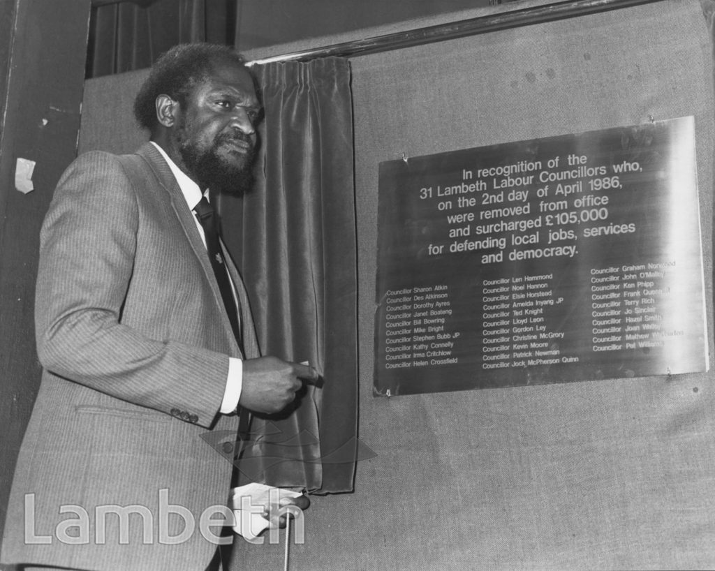 SACKED COUNCILLORS' PLAQUE UNVEILING, TOWN HALL, BRIXTON