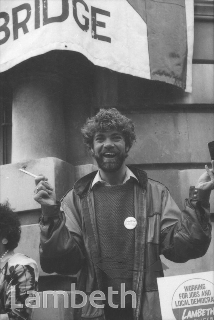 MATTHEW KELLY, FUNDING PROTEST, TOWN HALL. BRIXTON