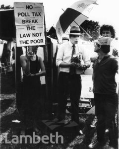 CONSERVATIVE COUNCILLOR & POLL TAX PROTEST, BROCKWELL PARK