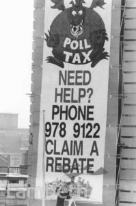 POLL TAX BANNER, TOWN HALL, BRIXTON