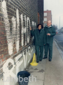 HEATHER RABBATTS WITH GRAFFITI, KINGS AVENUE, CLAPHAM PARK