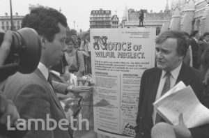 TED KNIGHT, RATE CAPPING PROTEST, WESTMINSTER
