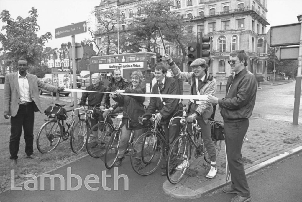 CYCLE LANE OPENING, CLAPHAM COMMON