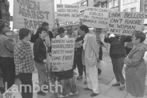 LINDA BELLOS WITH PROTESTERS, TOWN HALL, BRIXTON