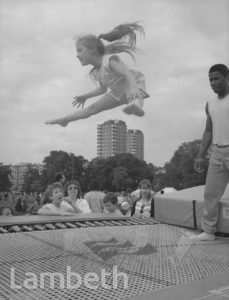 TRAMPOLINE, FESTIVAL OF SPORTS, BROCKWELL PARK, HERNE HILL