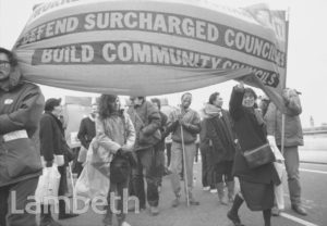 LAMBETH RATE-CAPPING PROTEST MARCH, WATERLOO BRIDGE