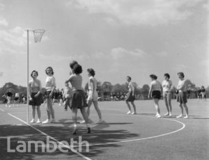 NETBALL GAME, CLAPHAM COMMON, CLAPHAM