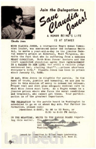 'SAVE CLAUDIA JONES' CAMPAIGN LEAFLET