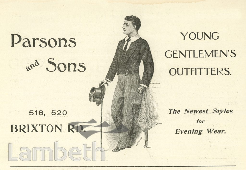 ADVERT: PARSONS & SONS, 518-520 BRIXTON ROAD, BRIXTON