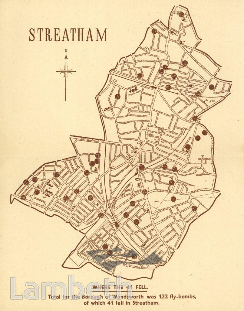 STREATHAM'S 41, WORLD WAR II FLYING BOMB MAP