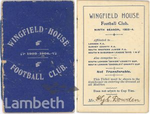 WINGFIELD HOUSE FOOTBALL CLUB, WATERTREE ROAD, STREATHAM