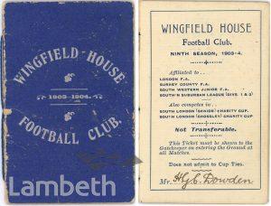 WINGFIELD HOUSE FOOTBALL CLUB, WATERTREE ROAD, STREATHAM