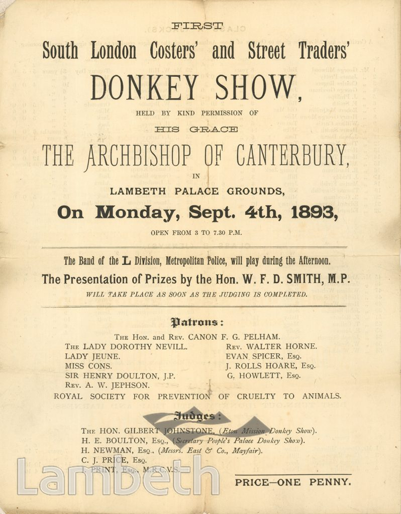 COSTERS' & STREET TRADERS' DONKEY SHOW, LAMBETH PALACE