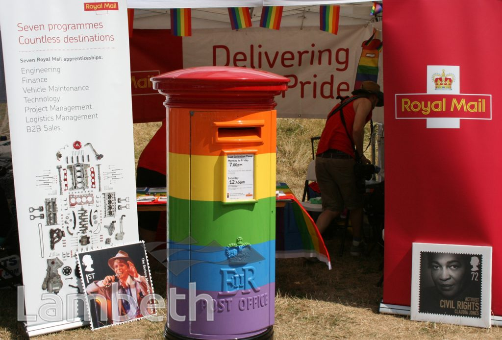 ROYAL MAIL STAND & RAINBOW POSTBOX, BLACK PRIDE, VAUXHALL