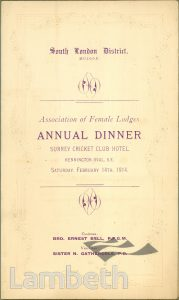 DINNER FOR FEMALE LODGES, ORDER OF ODDFELLOWS, OVAL