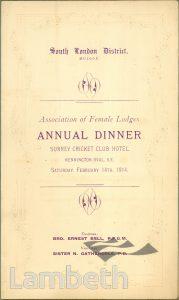 DINNER FOR FEMALE LODGES, ORDER OF ODDFELLOWS, OVAL
