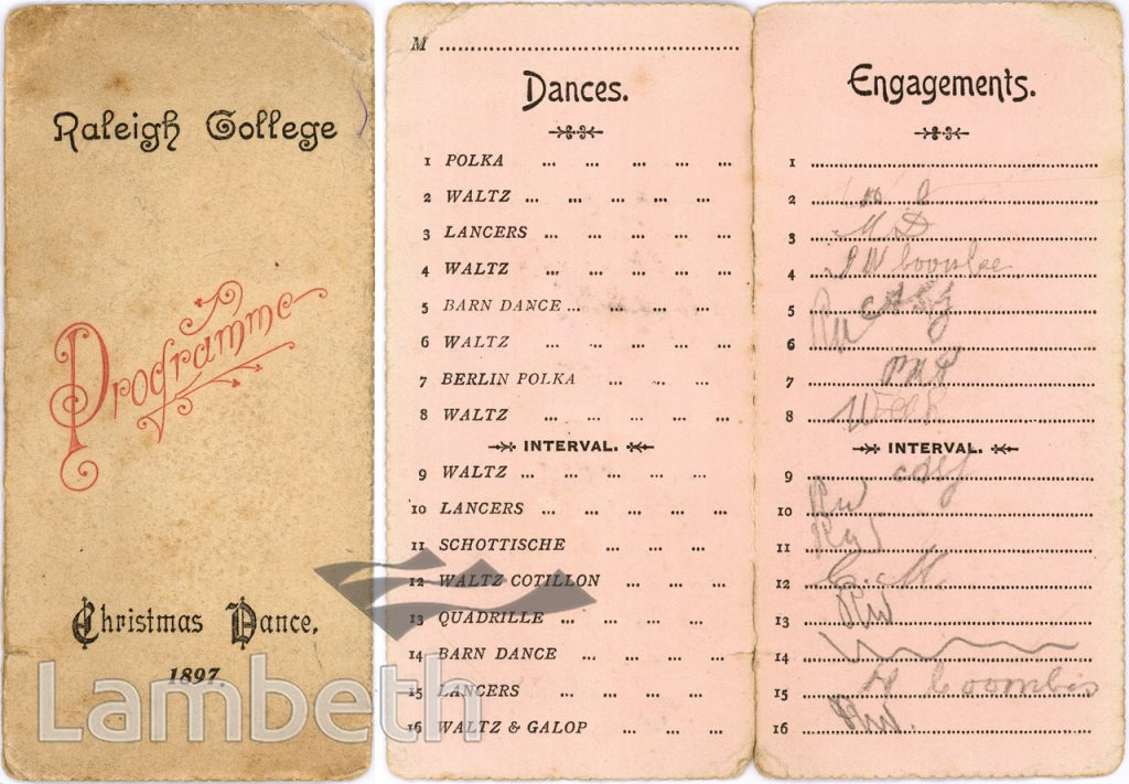 DANCE CARD, RALEIGH COLLEGE