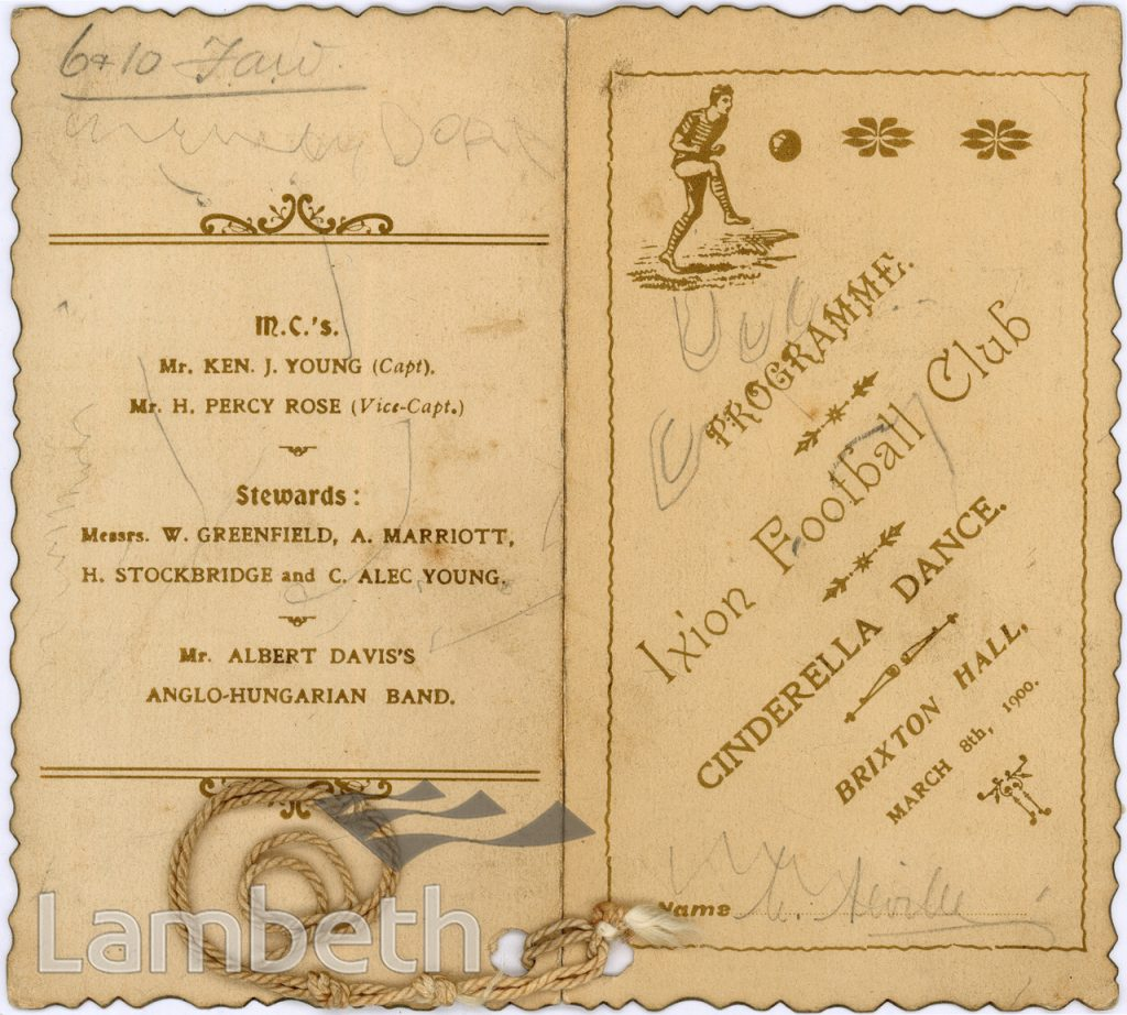 DANCE CARD, IXION FOOTBALL CLUB, BRIXTON HALL, ACRE LANE