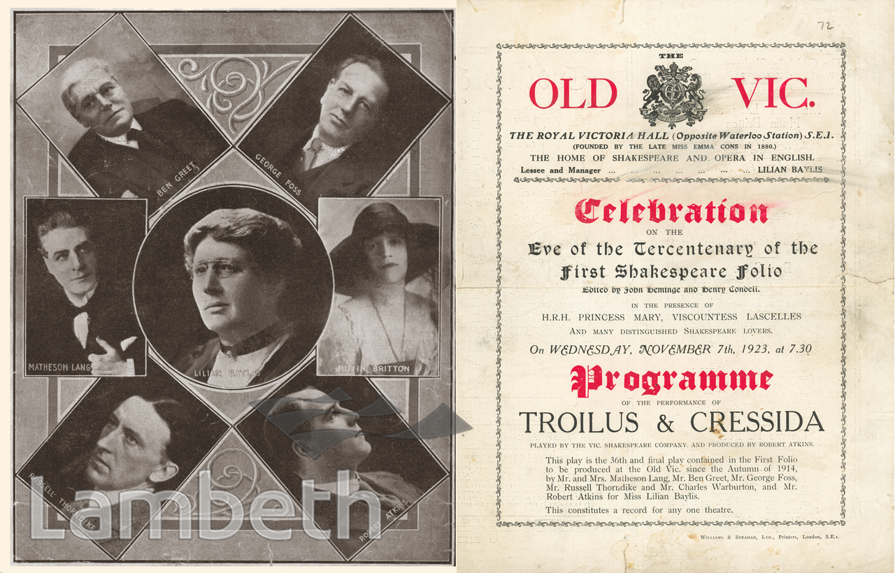 SHAKESPEARE CELEBRATION, OLD VIC, THE CUT, WATERLOO