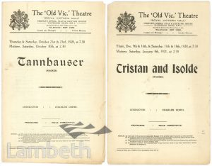 PROGRAMMES, OLD VIC THEATRE, THE CUT, WATERLOO