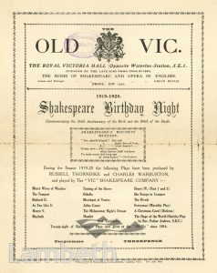 SHAKESPEARE PROGRAMME, OLD VIC THEATRE, THE CUT, WATERLOO