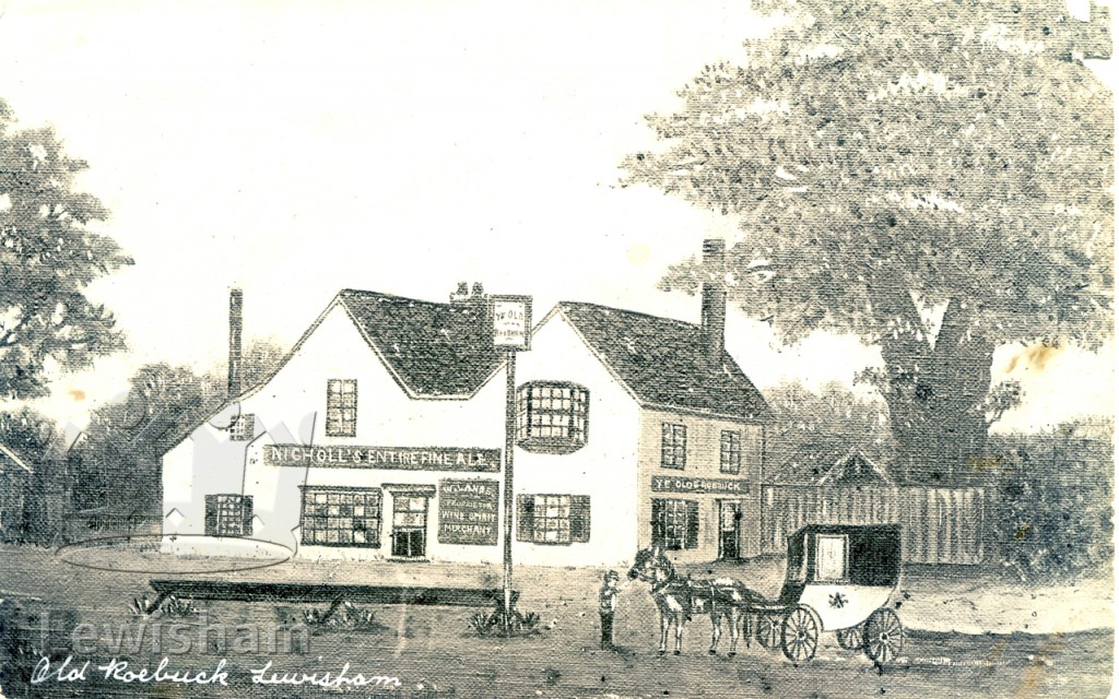 Naive painting depicting Ye Old Roebuck Inn. Coach and horse and watering trough in foreground.