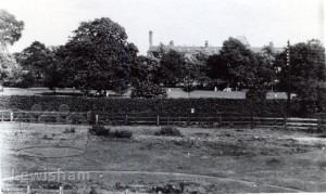 Ladywell Fields looking towards Lewisham Hospital
