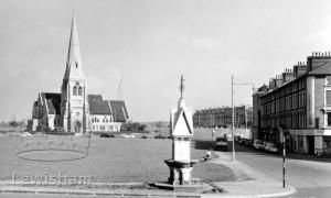All Saints Church – showing memorial fountain.