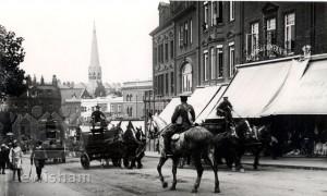 Horse drawn wagons accopanying troops through Blackheath Village