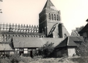 St.Laurence's Church From Vicarage Gardens During Demolition