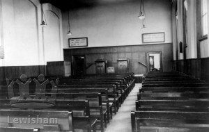 Kingdom Hall, Bennett Park, Blackheath, interior. Christian Scientist church.