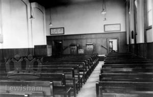 Kingdom Hall, Bennett Park, Blackheath, interior. Christian Scientist church.