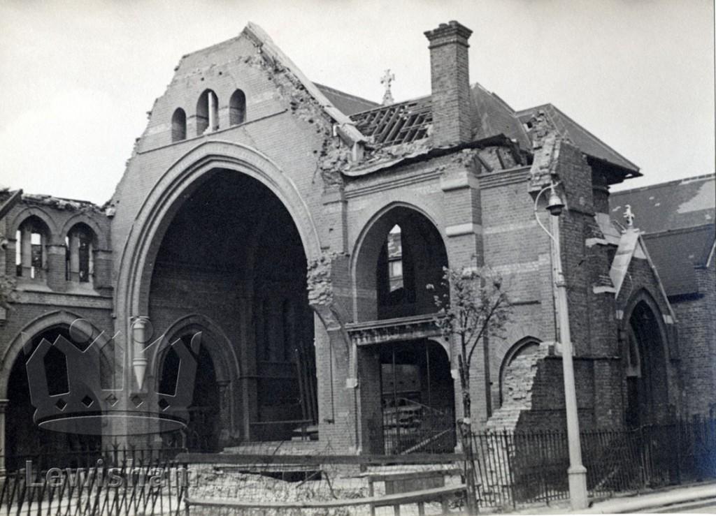 War damage to St. Katharine's Church