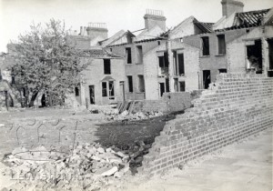 Backs of houses after bombing