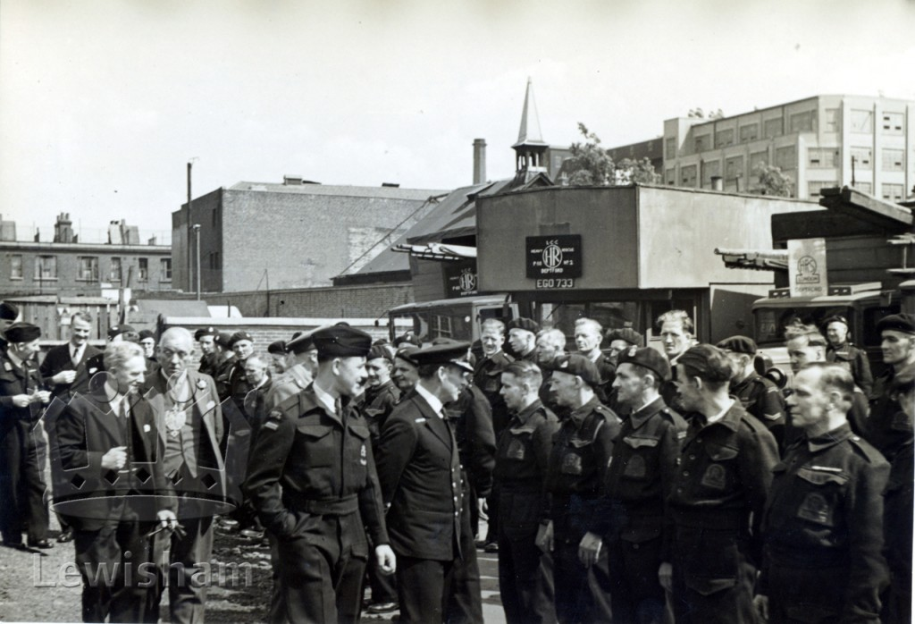 Admiral Evans inspects units at Deptford