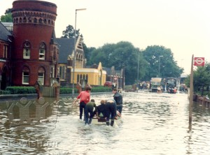 River Ravensbourne In Flood Ladywell Road Outside Ladywell Centre & St Mary's Institute