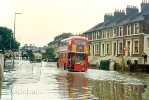 River Ravensbourne In Flood Ladywell Road Looking Towards Ladywell Bridge