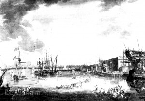 Royal Dockyard, Deptford from an engraving
