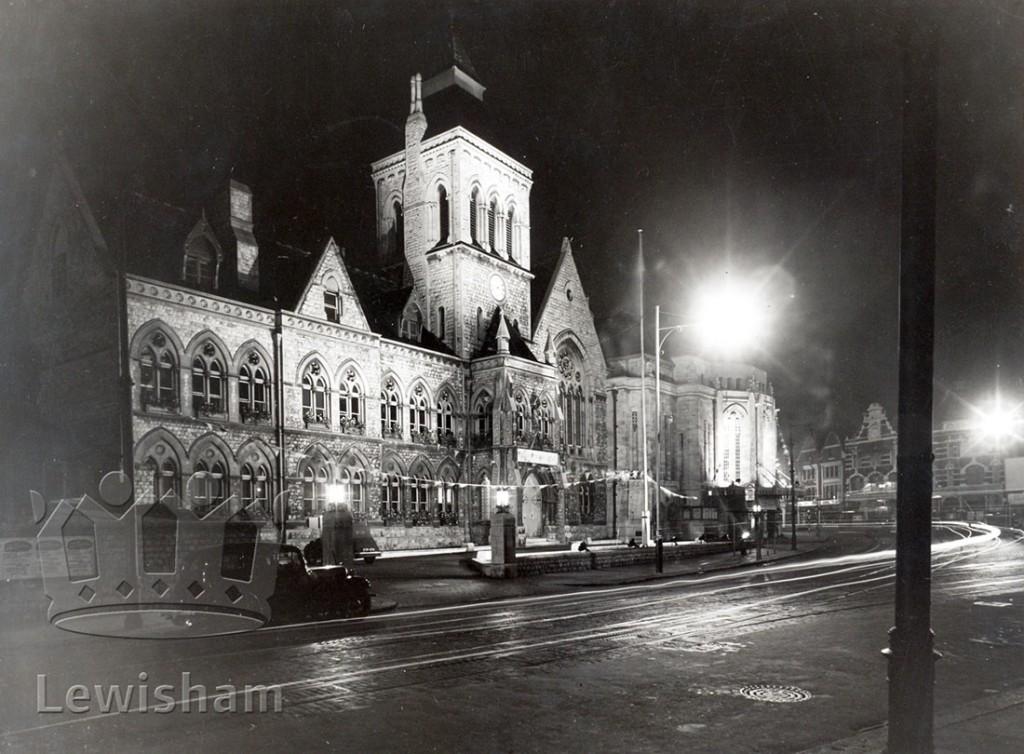 Lewisham Town Hall Floodlit For Lewisham Borough's Jubilee