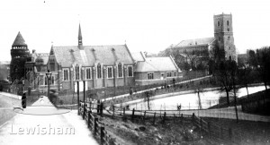 View From Ladywell Bridge Showing St Mary's Church, Church Hall & Baths