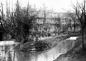 River Ravensbourne & Lewisham Infirmary from Ladywell Fields