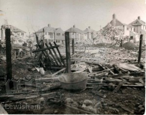 Bomb damage to Oldstead Road and Beachborough Road, Downham