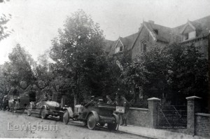 """Chinbrook Billet' showing Officers and Cars"