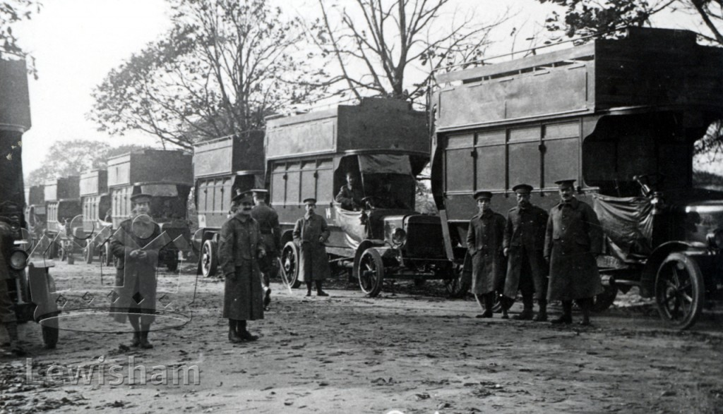 Army Service Corps motor transport in Grove Park Road, 1914-1918