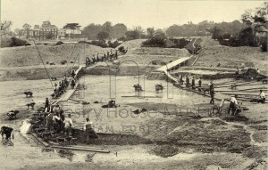 Excavating swimming pool Whipps Cross